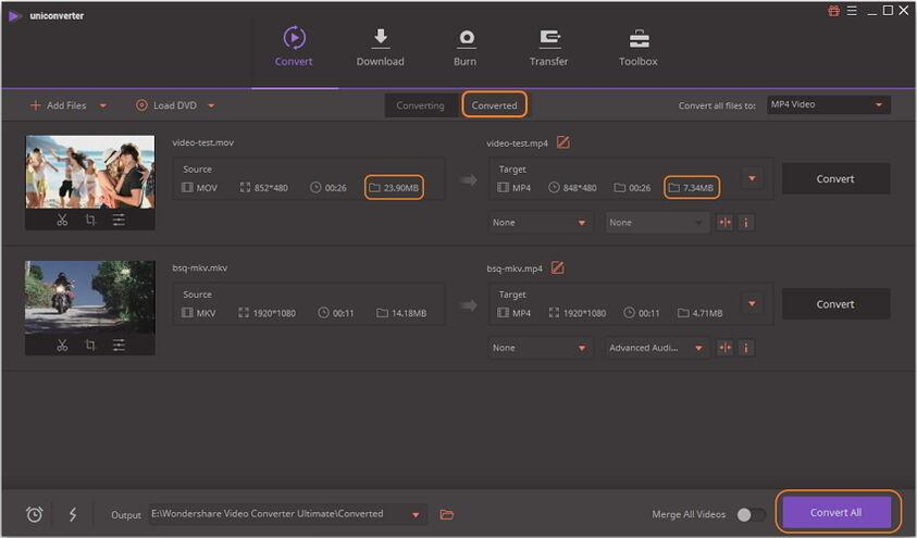 Easy to compress mp4 for 1GB to 100m with New UniConverter